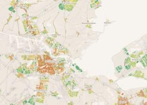 Voorbeeld van de kaart op www.energielabelatlas.nl